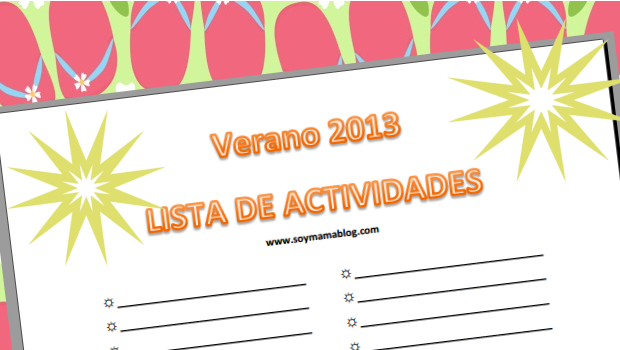 Imprimible: Lista de actividades - Verano 2013