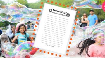 Imprimible: Lista de actividades – Verano 2017